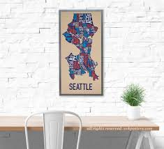 Chicago Neighborhood Map Poster by Seattle Neighborhood Map Poster Or Print Original Artist Of