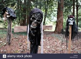 scary halloween skeleton heads on stakes and a cross in rags in a