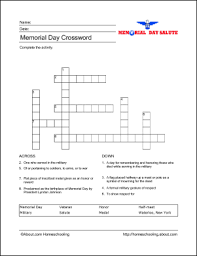 learn about memorial day with free printables crossword puzzles