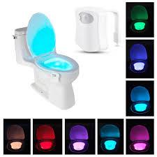 Motion Sensor Bathroom Light 8 Color Led Motion Sensing Automatic Toilet Night Light Kids