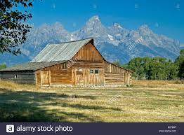 usa wyoming grand teton national park old barn and farm house