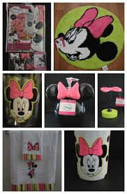Minnie Mouse Bathroom Rug New Disney Minnie Mouse 21 Pc Shower Curtain W Hooks Trash Can