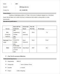 Software Engineer Fresher Resume Sample 11 Fresher Resume Samples Free U0026 Premium Templates
