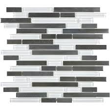 shop allen roth glacier links linear mosaic glass metal stone