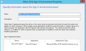 deploying visio 2016 volume licence using app v in sccm 2012 r2