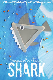 popsicle stick shark kid craft shark craft and activities