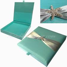 box wedding invitations wedding invitation silk invitation box starfish rhinestone