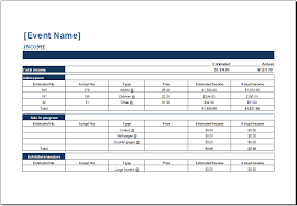 Event Budget Template Excel Ms Excel Generic Event Budget Templates Excel Templates