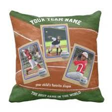 make your own kids baseball cards sports collage round pillow