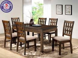 buy daisy wood dining table with 6 chairs online in india