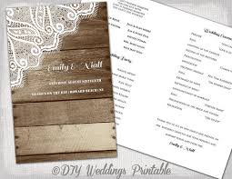 rustic wedding program printable program template wood