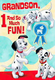 101 dalmatians 1st birthday card grandson greeting cards