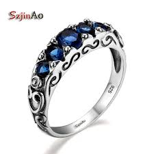 art silver rings images Szjinao women art deco 925 sterling silver dark sapphire ring for jpg