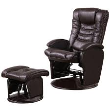 Glider Recliner With Ottoman Coaster Faux Leather Glider Recliner Chair With Ottoman In Brown