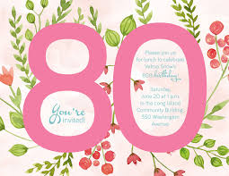 birthday invitation 80th birthday invitations new