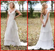 non traditional wedding dresses with sleeves discount custom made cap sleeves v neck lace layered floor