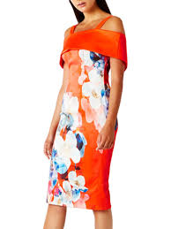 coast dress coast multi immo print shift dress bardot knee length dress