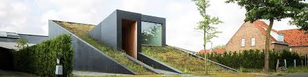 split level a sloping green roof hides the split level interior of belgium s