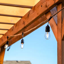 dimmable outdoor led string light 48 ft led outdoor string lights by proxy lighting 15 hanging sockets