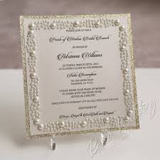 bridal cards pearls and glitter bridal shower invitation card