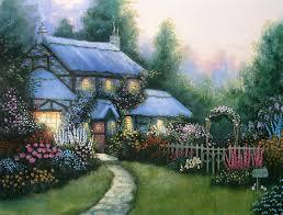 blue cottage a kinkade study by kchan27 on deviantart