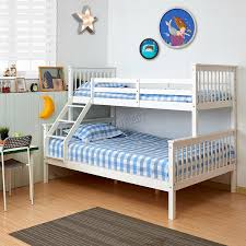 FoxHunter Bunk Bed Wooden Frame Children Triple Sleeper No - White bunk bed with mattress