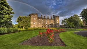 medieval rain mansion peaceful neauty building windows rainbow