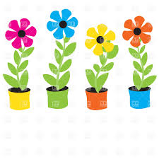 flower clip flowers in flowerpots royalty free vector clip image