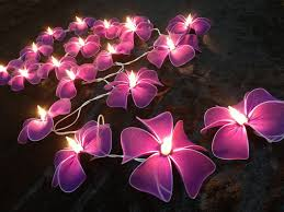 decorative string lights for bedroom with pink flowers pattern