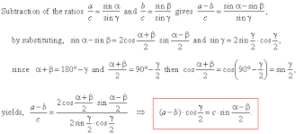 mollweide u0027s formulas tangent law or tangent rule half angle formulas