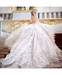 princess wedding dress 3d floral applique cathedral princess wedding dress