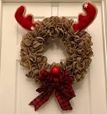 christmas burlap wreaths christmas wreath rudolph wreath rudolph the nosed reindeer