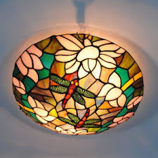 vintage stained glass ceiling lights tiffany style dragonfly