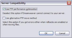 configure xp dreamweaver ftp issues in dreamweaver cs4 and earlier