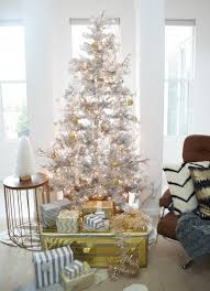 Blue White And Silver Christmas Tree - decorating ideas large silver tree with yellow white blue