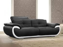 vente canapé canapé 3 places cuir smiley bicolore noir et blanc http