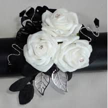 black and white corsage black white wrist corsage with black gems and diamante by the