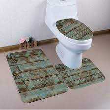 Bathroom Mats Set by Colormix Nonslip Vintage Wood Pattern 3pcs Bath Toilet Mats Set