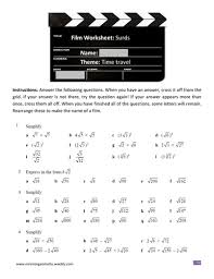 film worksheet surds by emtay teaching resources tes