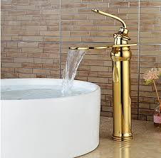 contemporary heightening ti pvd waterfall bathroom sink faucets