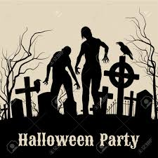spooky graveyard on the halloween night retro poster for