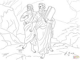 moses and joshua bearing the law coloring page free printable