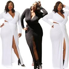 womens plus size long sleeve maxi dress split v neck vestidos