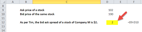 ask e bid bid ask spread formula calculator with excel template
