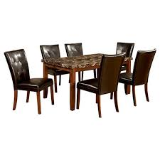 faux marble dining room table set iohomes 7pc faux marble dining table set wood antique oak target