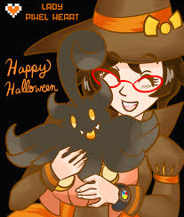 happy halloween with pumpkaboo and pixel by ladypixelheart on