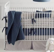 Navy Blue And White Crib Bedding Set Vintage Ticking Stripe Vintage Washed Percale Nursery Bedding