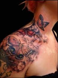 flower meaning and butterfly tattoos shoulder design idea for
