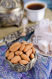 traditional tea in arabic with dates and nuts stock