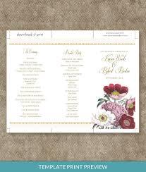 tri fold wedding program template poppy tri fold program template print